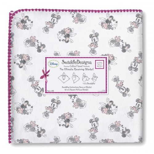 Фланелевая пеленка SwaddleDesigns Gray Minnie / Pink